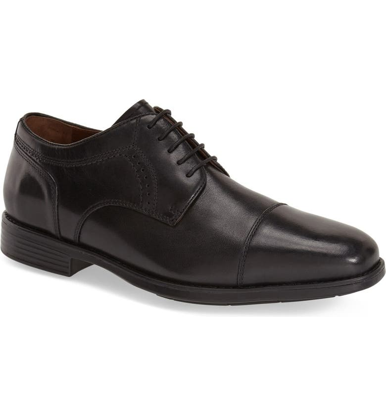 JOHNSTON & MURPHY 'Branning' Waterproof Cap Toe Derby, Main, color, BLACK