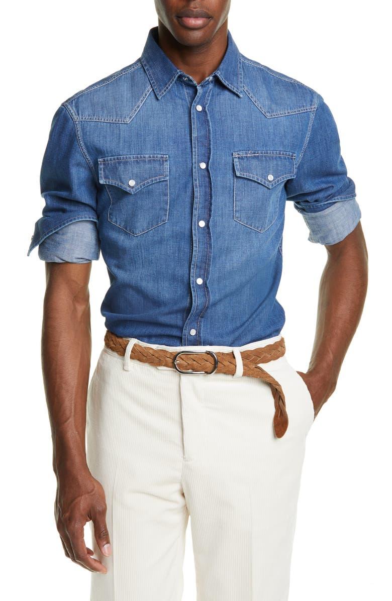 BRUNELLO CUCINELLI Leisure Fit Dark Western Shirt, Main, color, DARK WASH DENIM