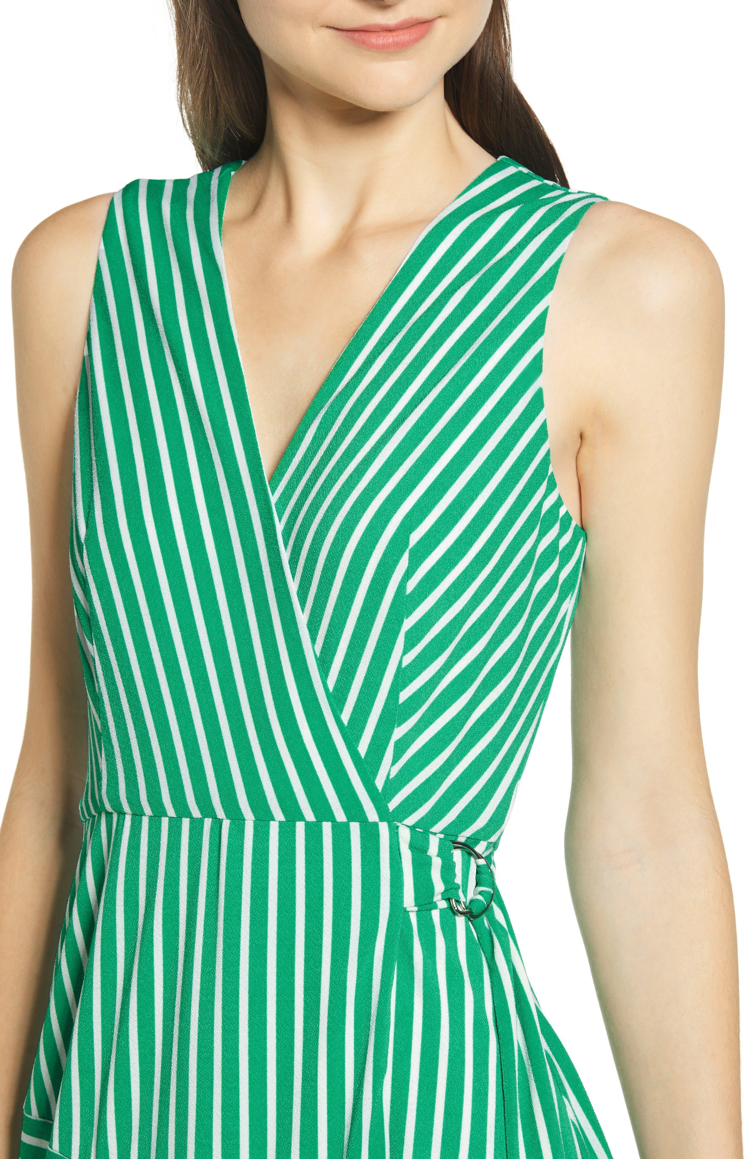 ,                             Wrap Midi Dress,                             Alternate thumbnail 7, color,                             JADE-WHITE STRIPE