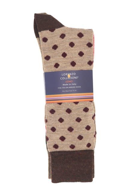 Image of Lorenzo Uomo Lorenzo Wool Pattern Socks - Pack of 3
