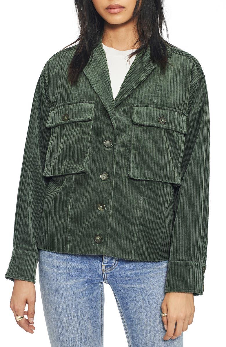 ANINE BING Sam Corduroy Jacket, Main, color, GREEN