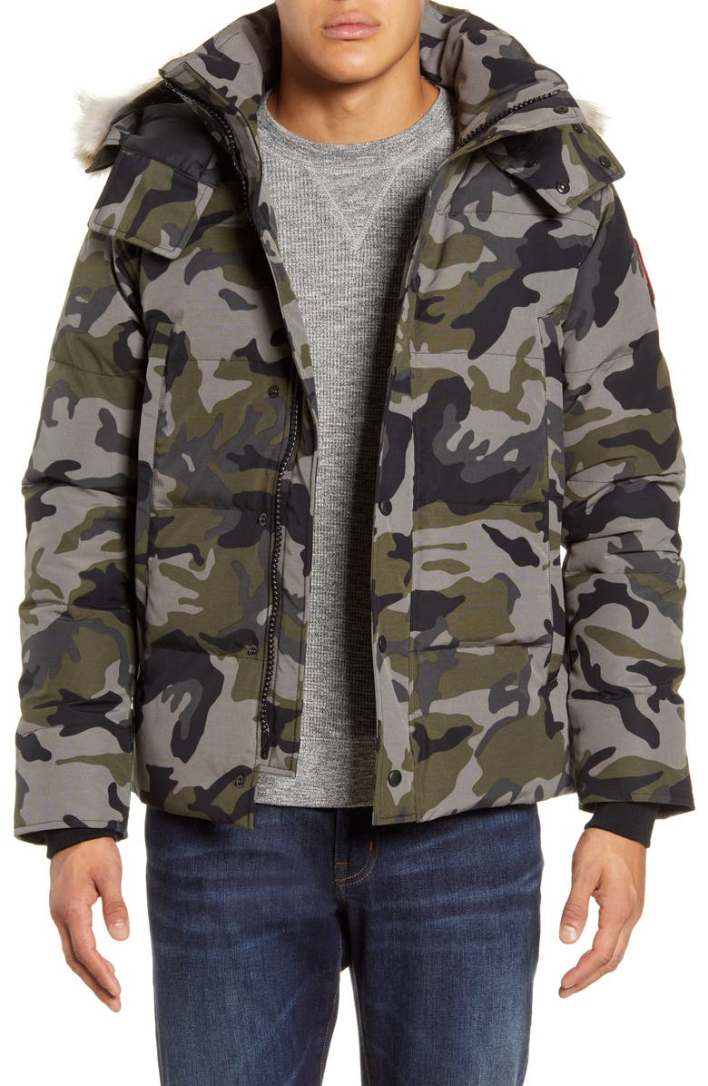 CANADA GOOSE Wyndham Fusion Fit 625 Fill Power Down Jacket with Genuine Coyote Fur Trim, Main, color, CLASSIC CAMO COASTAL GREY