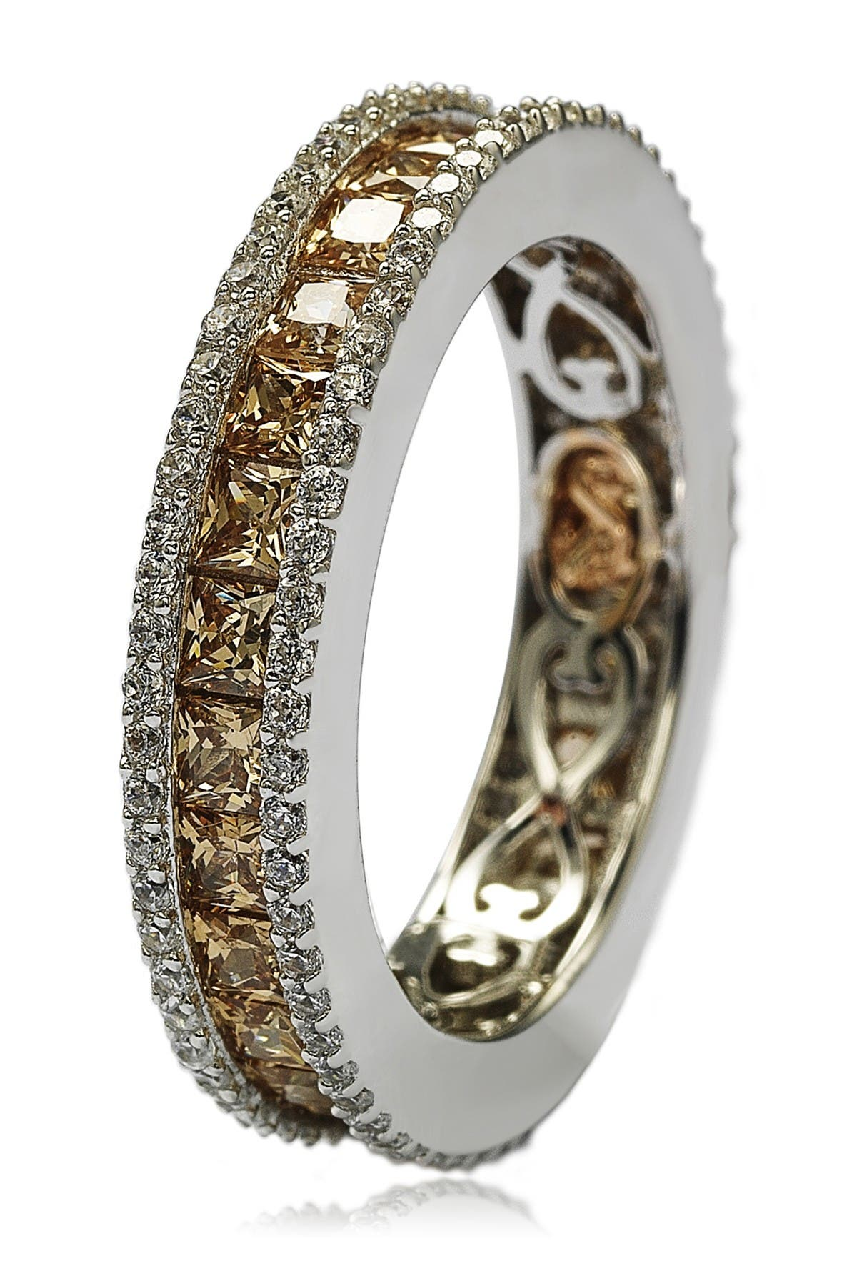 Image of Suzy Levian Brown & White CZ Band Ring