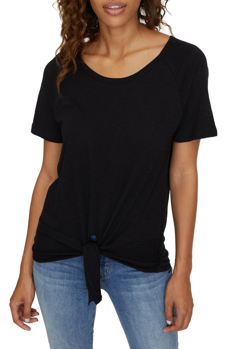 SANCTUARY Lou Tie T-Shirt, Main, color, BLACK