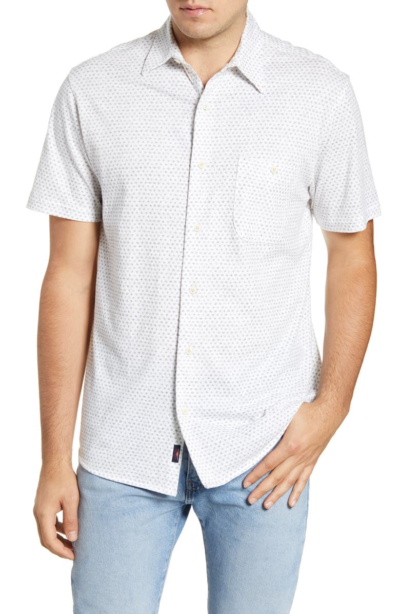 FAHERTY Everyday Short Sleeve Button-Up Shirt, Main, color, FLECK PRINT