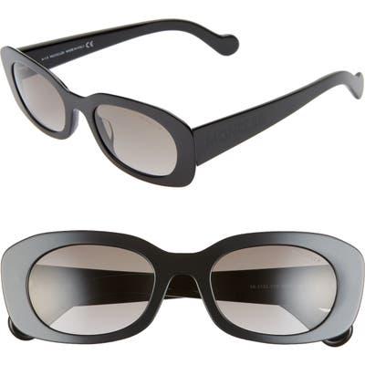 Moncler 52Mm Oval Sunglasses - Black/ Gradient Smoke