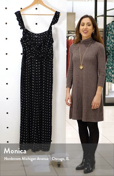 Ruffle Front Wrap Jumpsuit in Grid Dot, sales video thumbnail