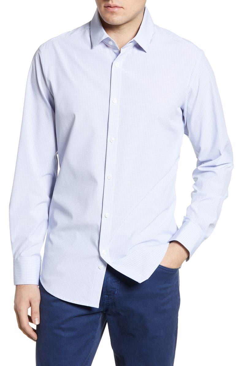 MIZZEN+MAIN Coolidge Blue Trim Fit Check Shirt, Main, color, BLUE