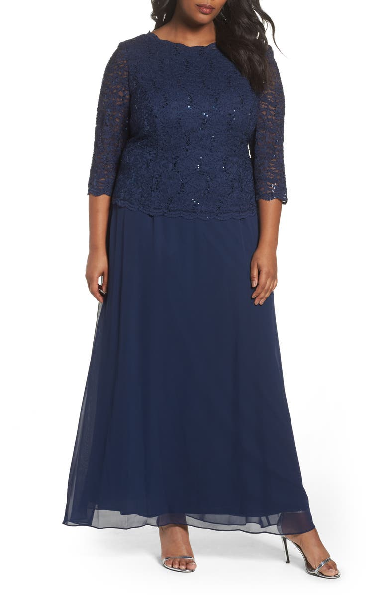 ALEX EVENINGS Embellished Lace & Chiffon Gown, Main, color, NAVY
