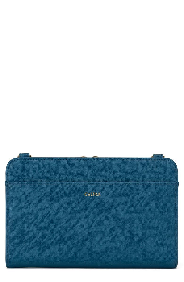 CALPAK Faux Leather RFID Travel Wallet, Main, color, DEEP BLUE