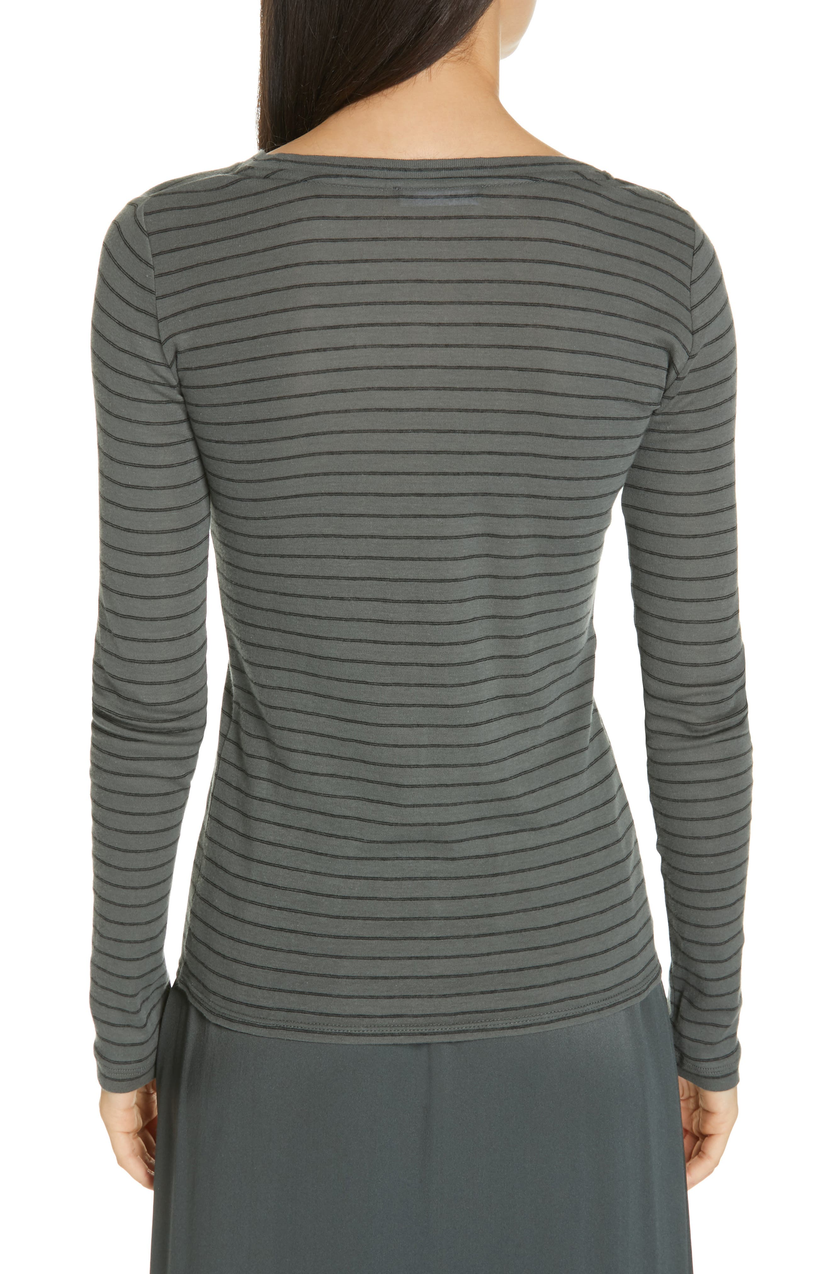 ,                             Double Pinstripe Top,                             Alternate thumbnail 2, color,                             MINERAL STONE/ BLACK
