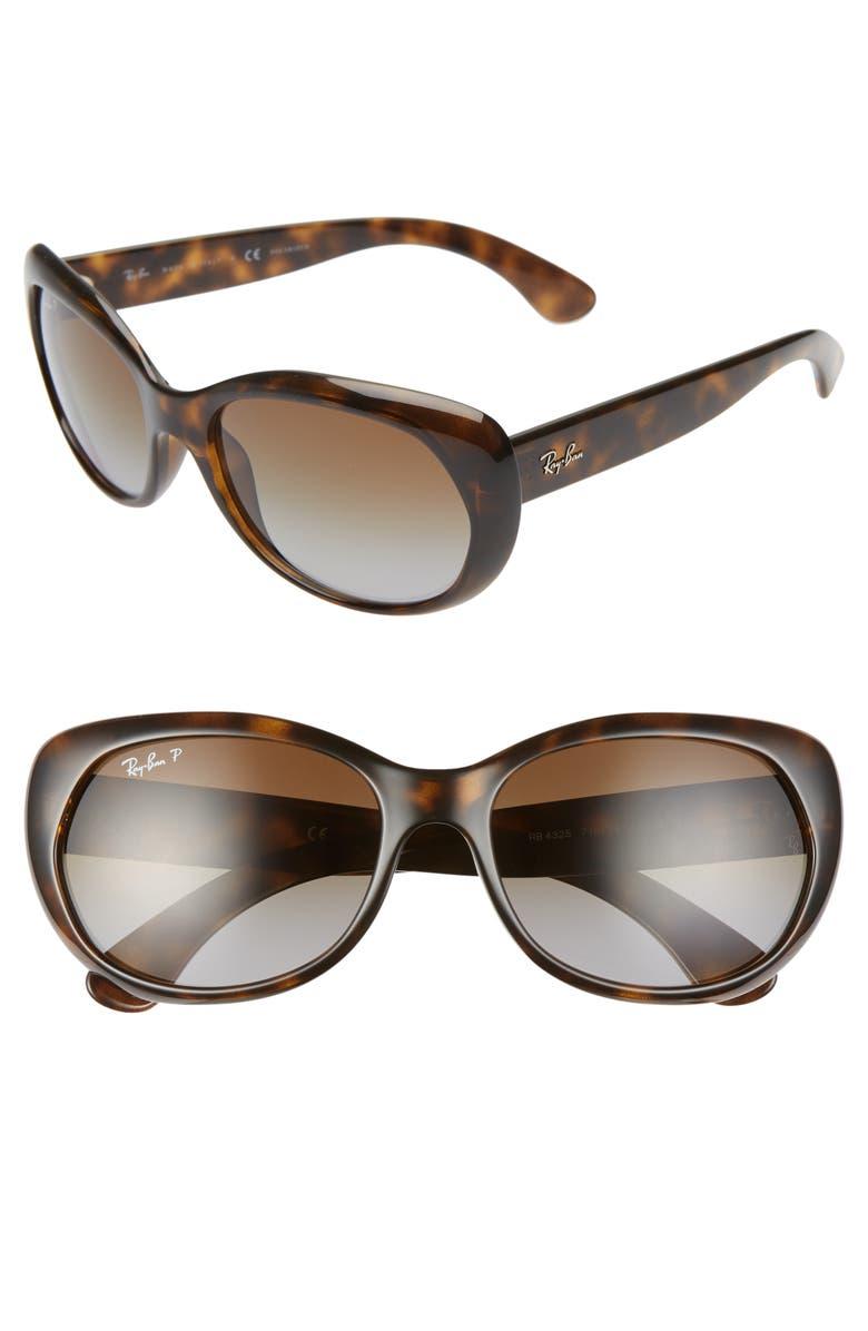 RAY-BAN 59mm Polarized Sunglasses, Main, color, HAVANA/ GREY GRADIENT BROWN