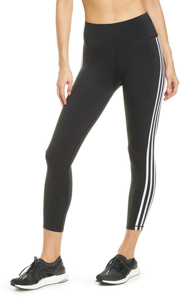 ADIDAS Believe This High Waist 3-Stripes 7/8 Tights, Main, color, BLACK/ WHITE