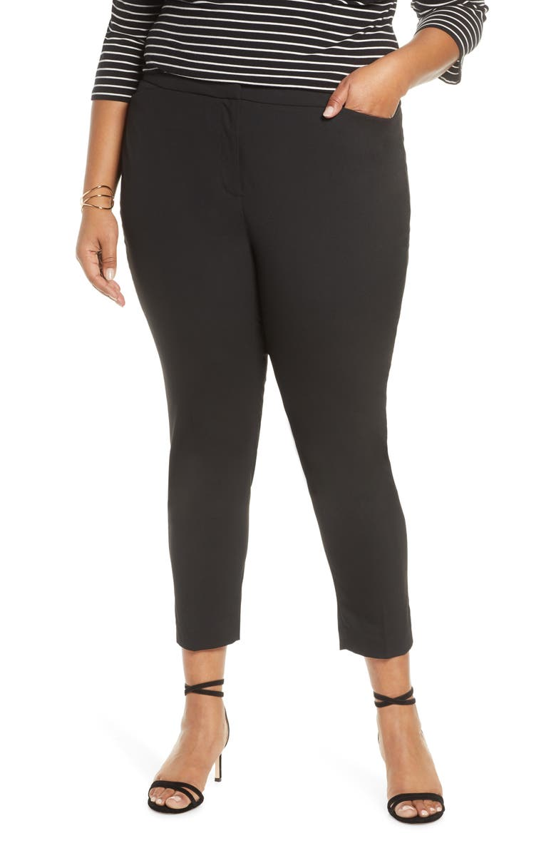 HALOGEN<SUP>®</SUP> Straight Leg Trousers, Main, color, BLACK