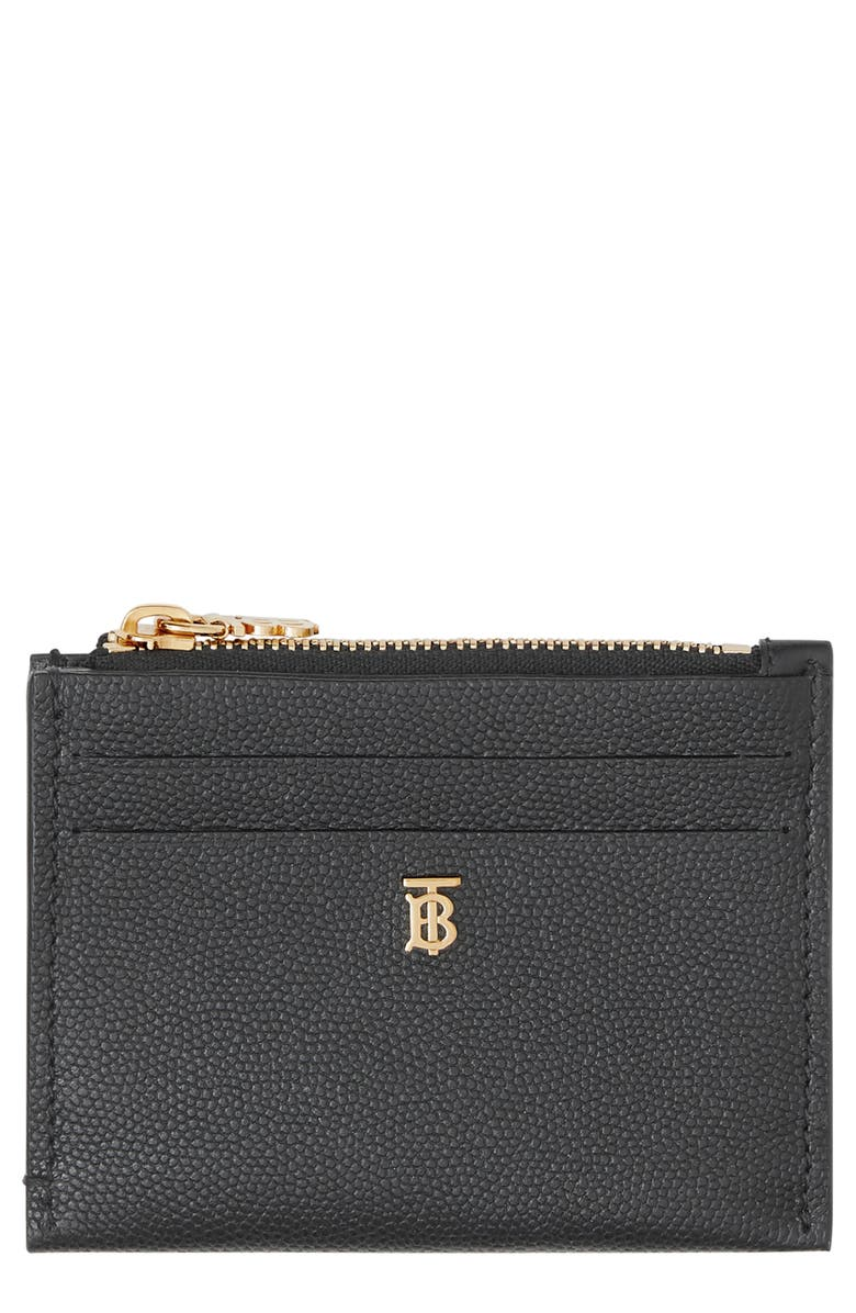 BURBERRY Simone TB Hardware Leather Card Case, Main, color, 001