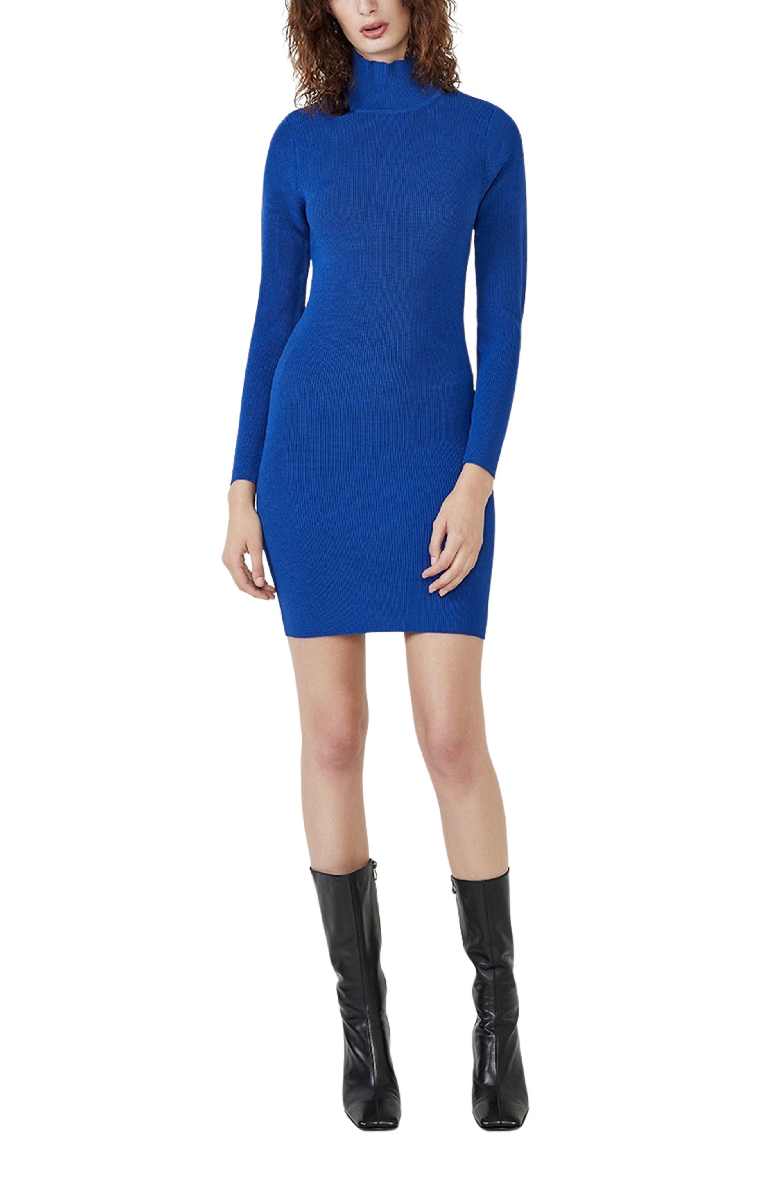 Elin Long Sleeve Open Back Turtleneck Dress