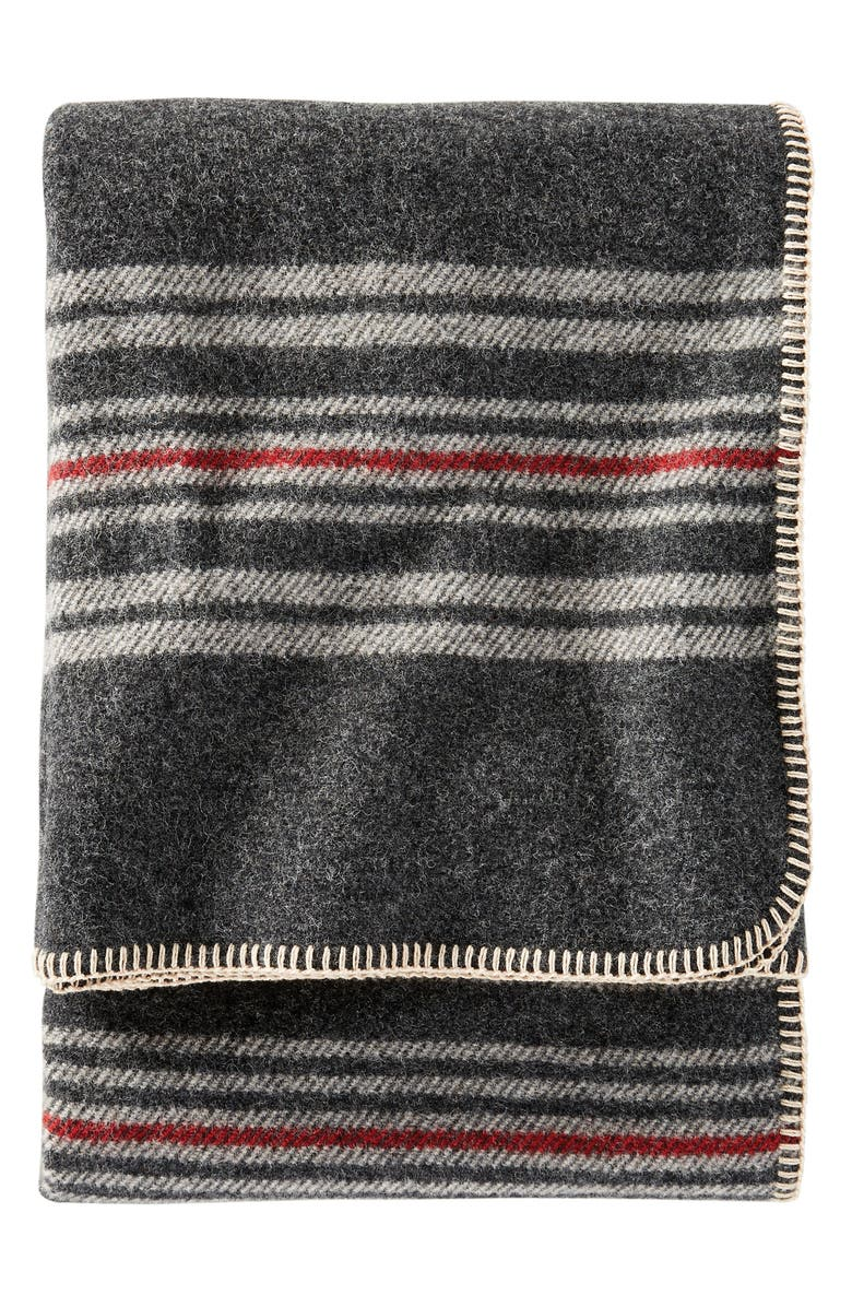 PENDLETON Stripe Washable Wool Throw Blanket, Main, color, CHARCOAL IRVING STRIPE