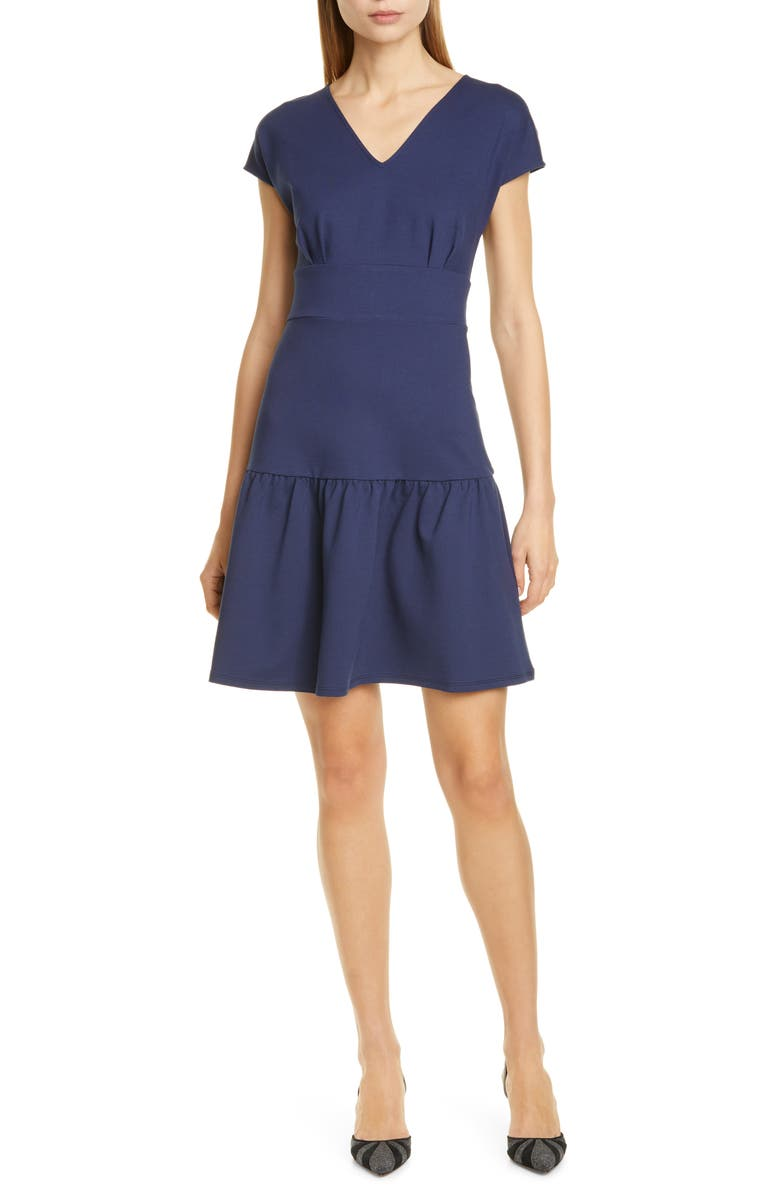 KATE SPADE NEW YORK ponte flounce dress, Main, color, PARISIAN NAVY