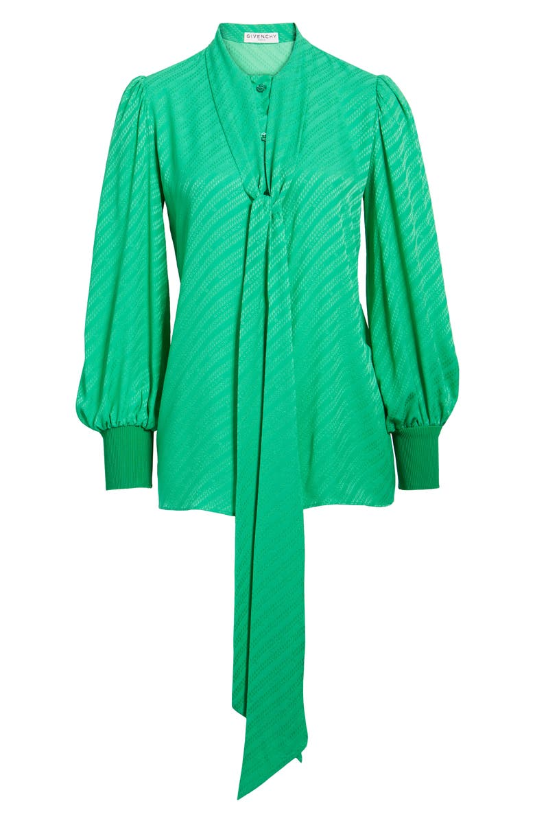 GIVENCHY Jacquard Logo Print Tie Neck Silk Top, Main, color, APPLE GREEN