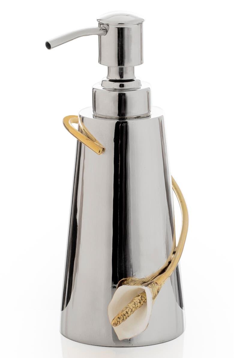 MICHAEL ARAM Calla Lily Soap Dispenser, Main, color, SILVER
