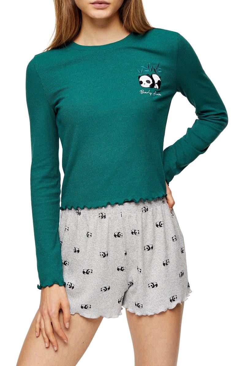 TOPSHOP Panda Ribbed Two-Piece Pajama Set, Main, color, 300