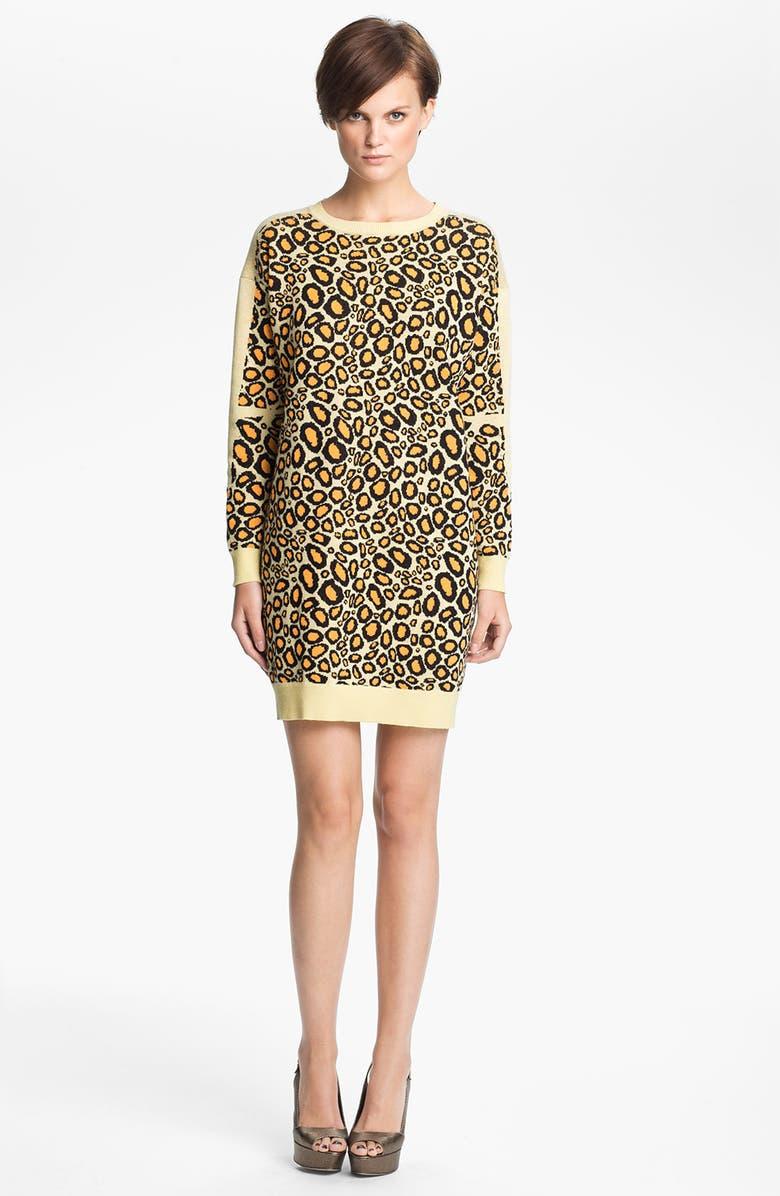 KENZO Leopard Jacquard Sweater Dress, Main, color, 250