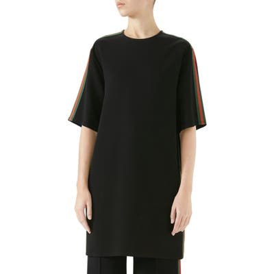 Gucci Side Stripe Cady Tunic Dress, 6 IT - Black
