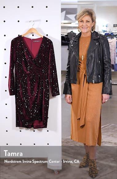 Velvet Sequin Long Sleeve Faux Wrap Dress, sales video thumbnail