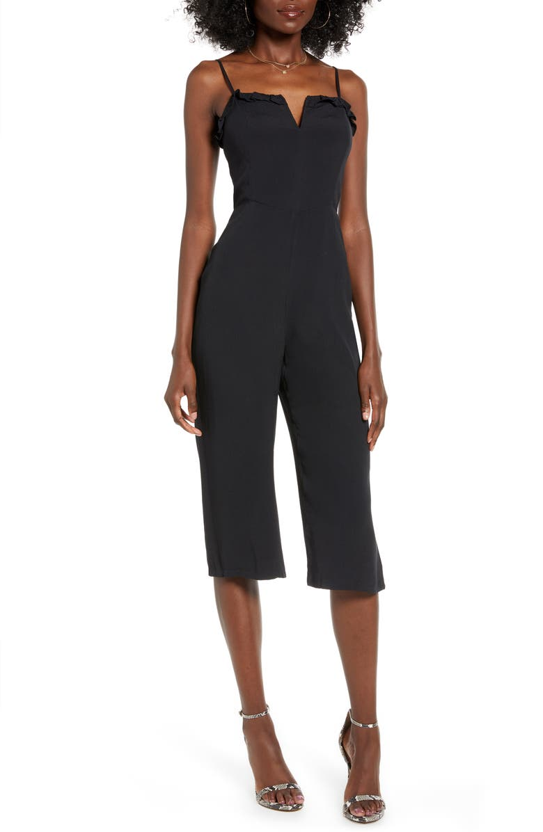 4SI3NNA Harley Sleeveless Crop Jumpsuit, Main, color, BLACK
