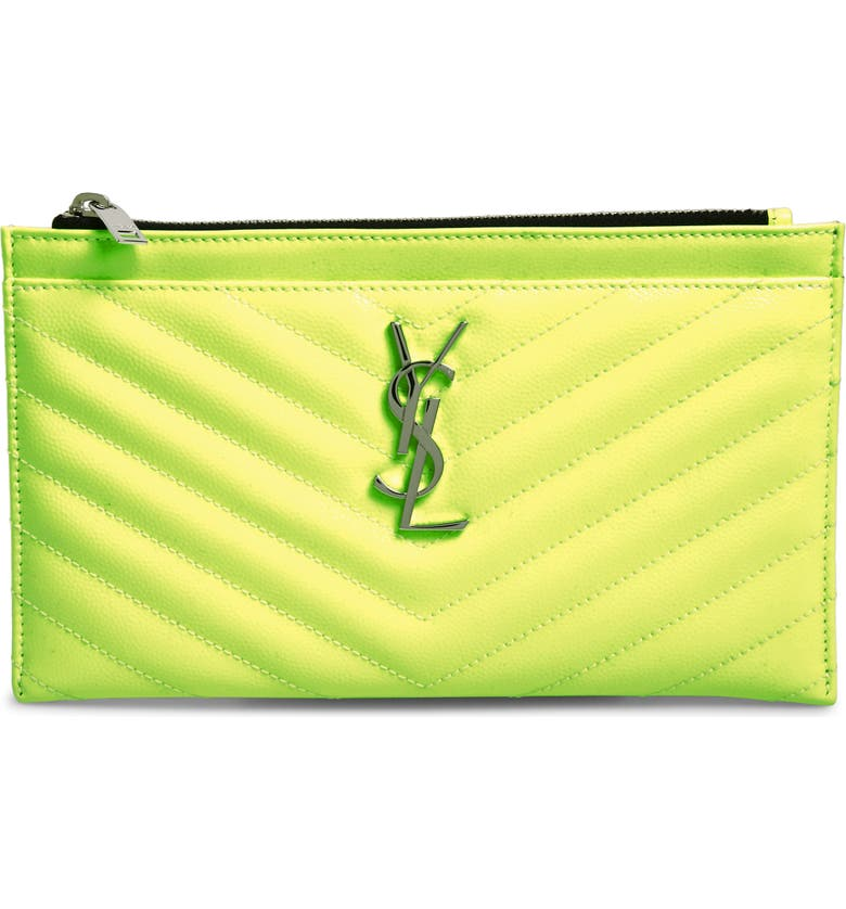 SAINT LAURENT Monogram Matelassé Leather Pouch, Main, color, NEON YELLOW