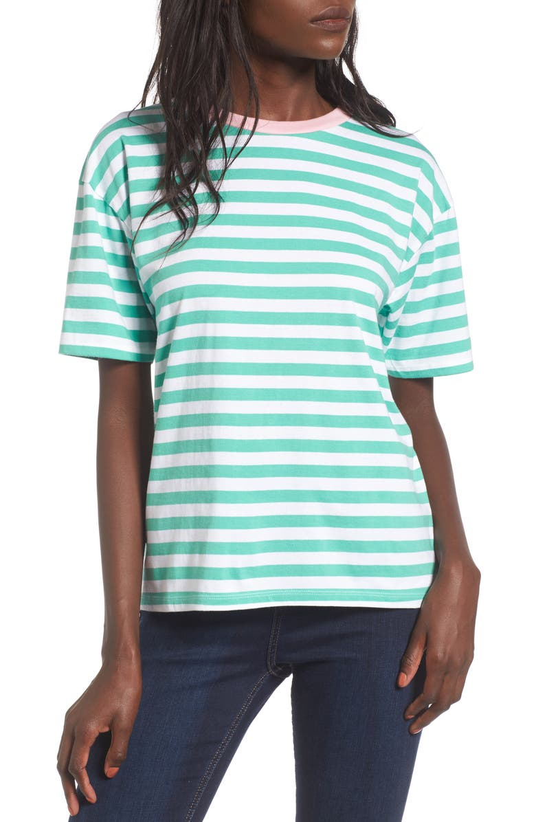 TOPSHOP Contrast Neck Stripe Tee, Main, color, 301