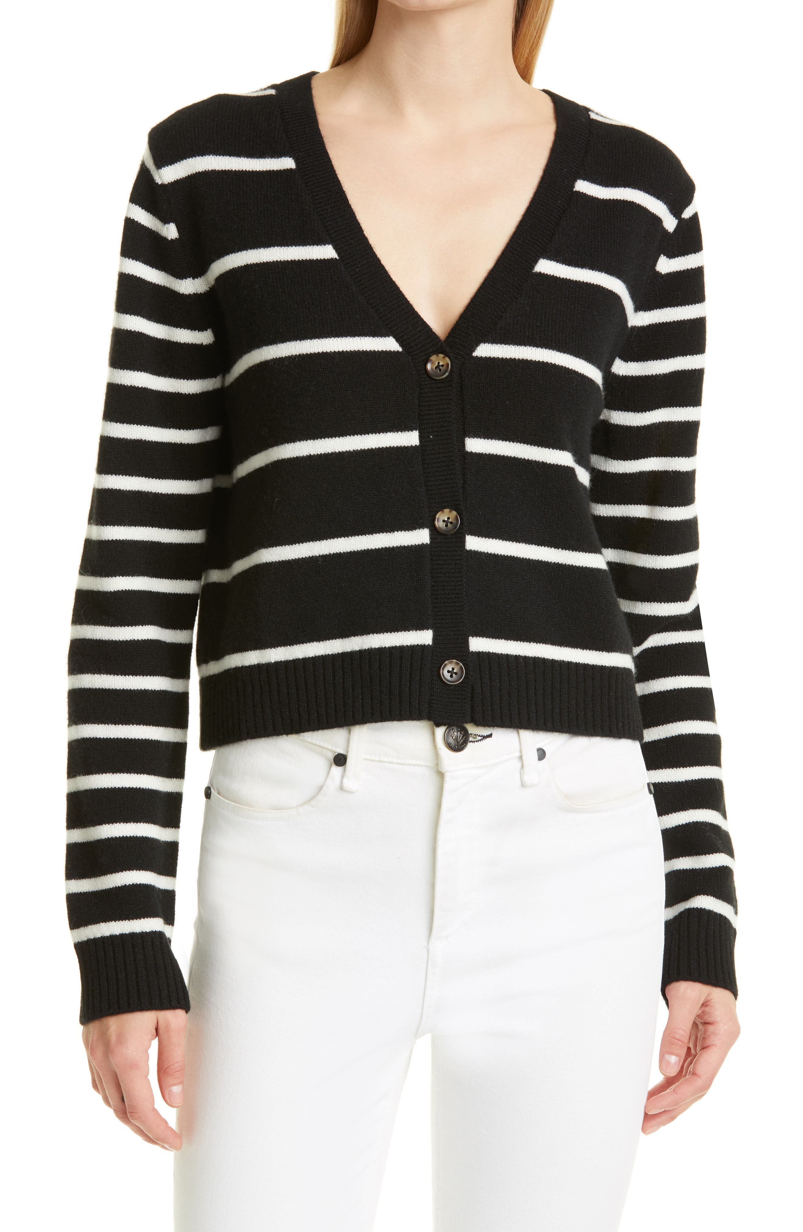 Stripe Cashmere Crop Cardigan