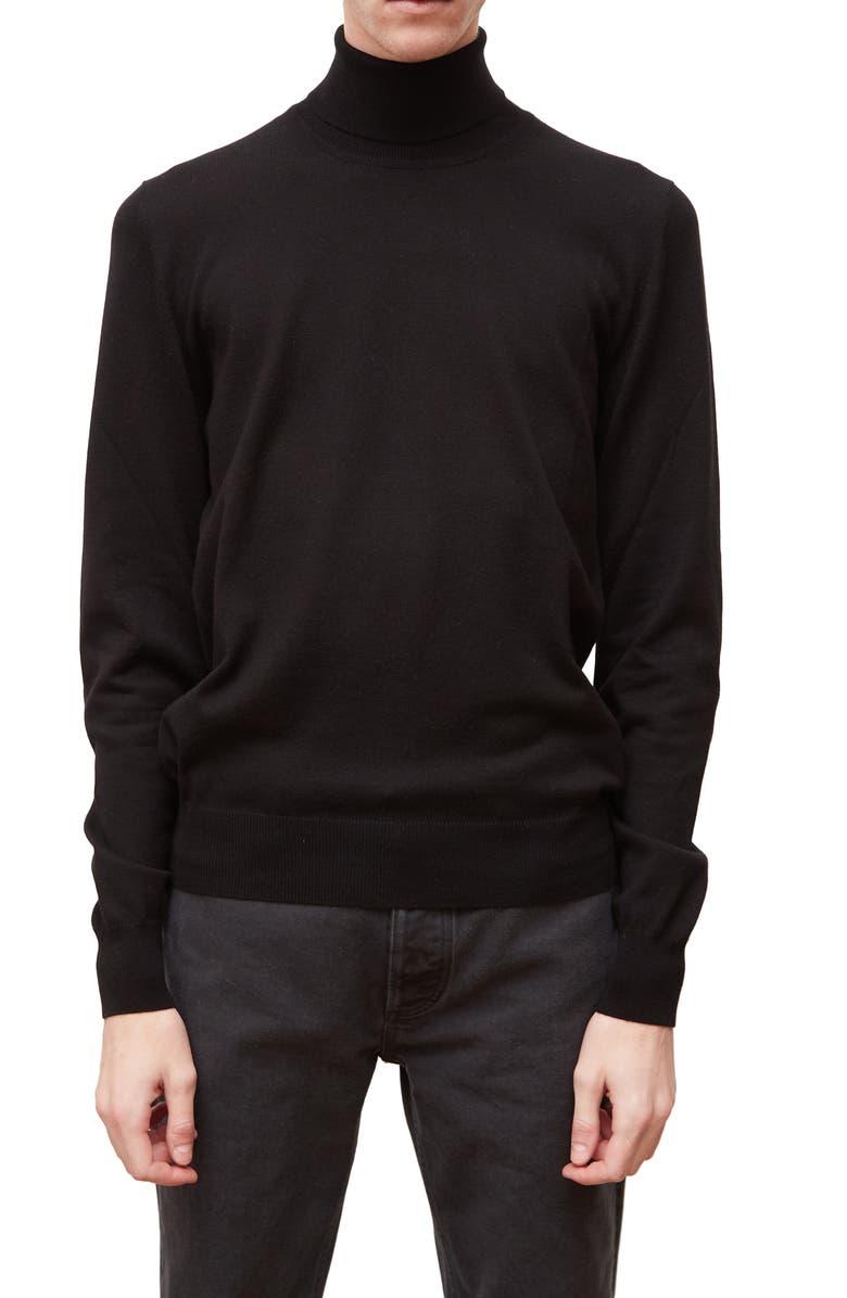 MAISON MARGIELA Elbow Patch Turtleneck Sweater, Main, color, BLACK