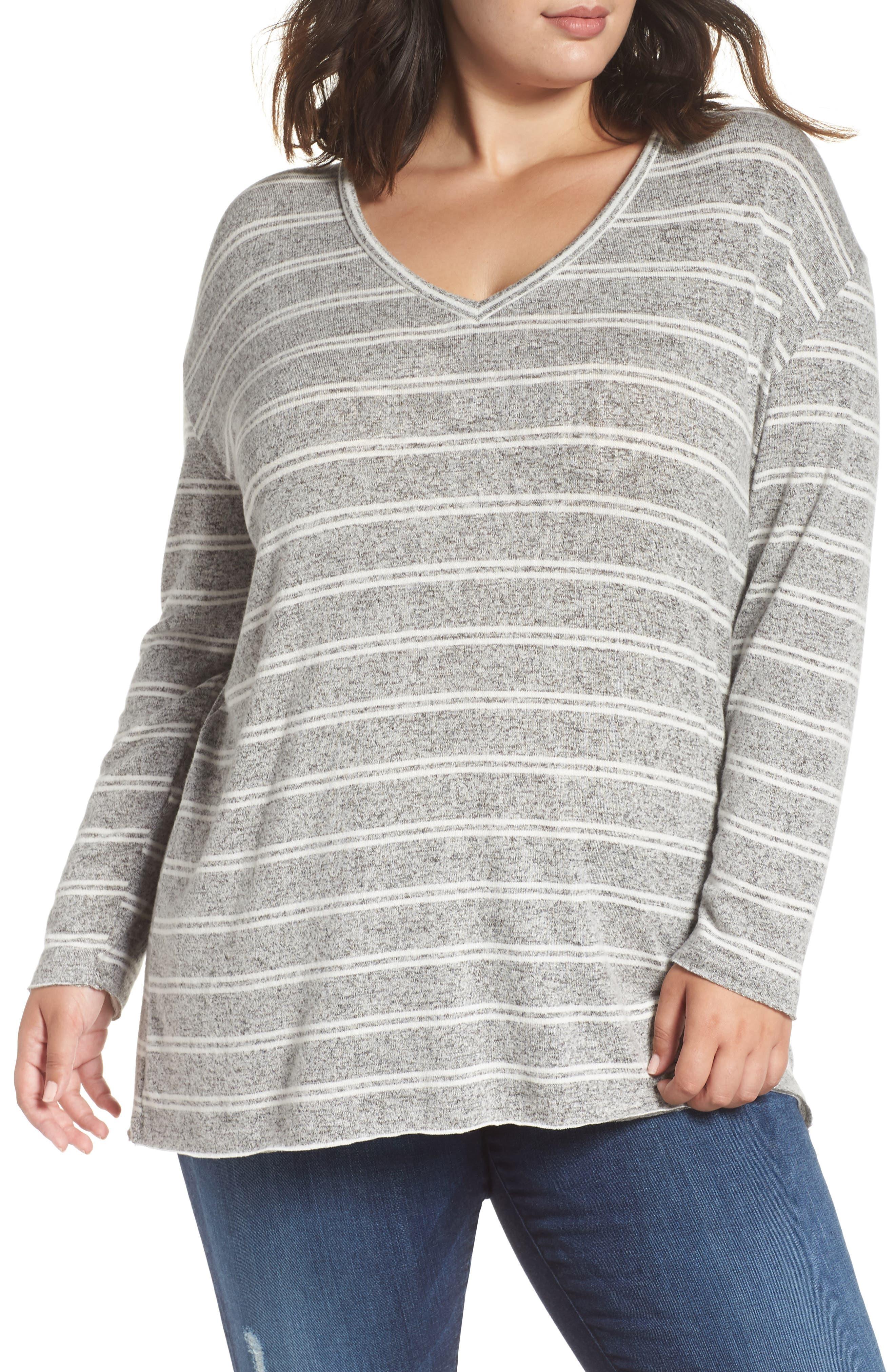 ,                             Cozy V-Neck Sweater,                             Alternate thumbnail 3, color,                             050