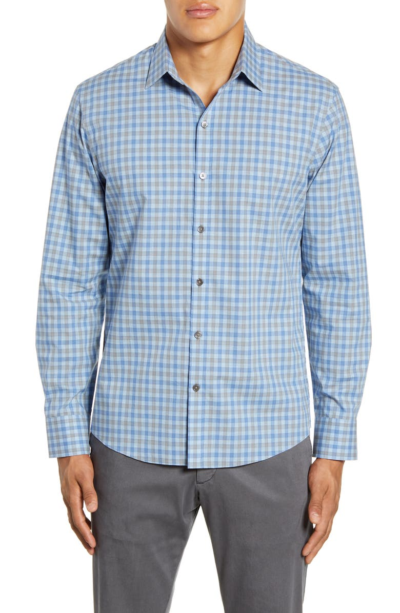 ZACHARY PRELL Harrigan Regular Fit Check Button-Up Shirt, Main, color, ICE