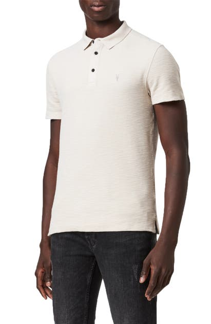 Allsaints Muse Polo Shirt In Natural Ecru