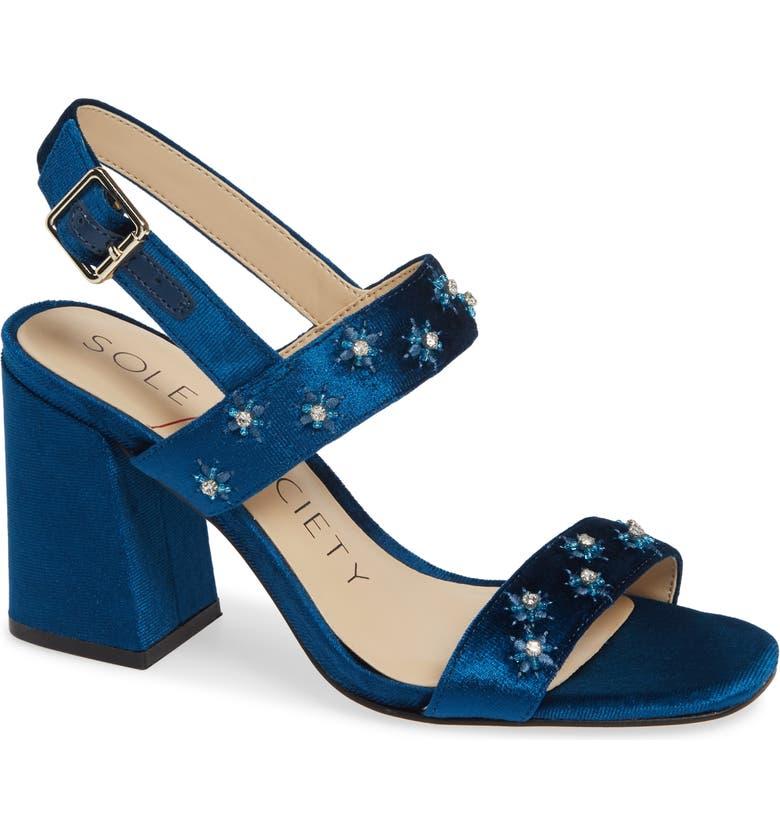 SOLE SOCIETY Jessibel Sandal, Main, color, CERULEAN BLUE VELVET