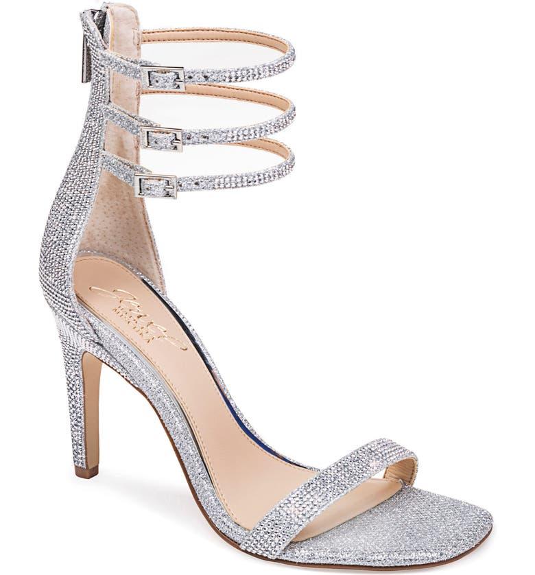 JEWEL BADGLEY MISCHKA Regina Ankle Strap Sandal, Main, color, SILVER GLITTER
