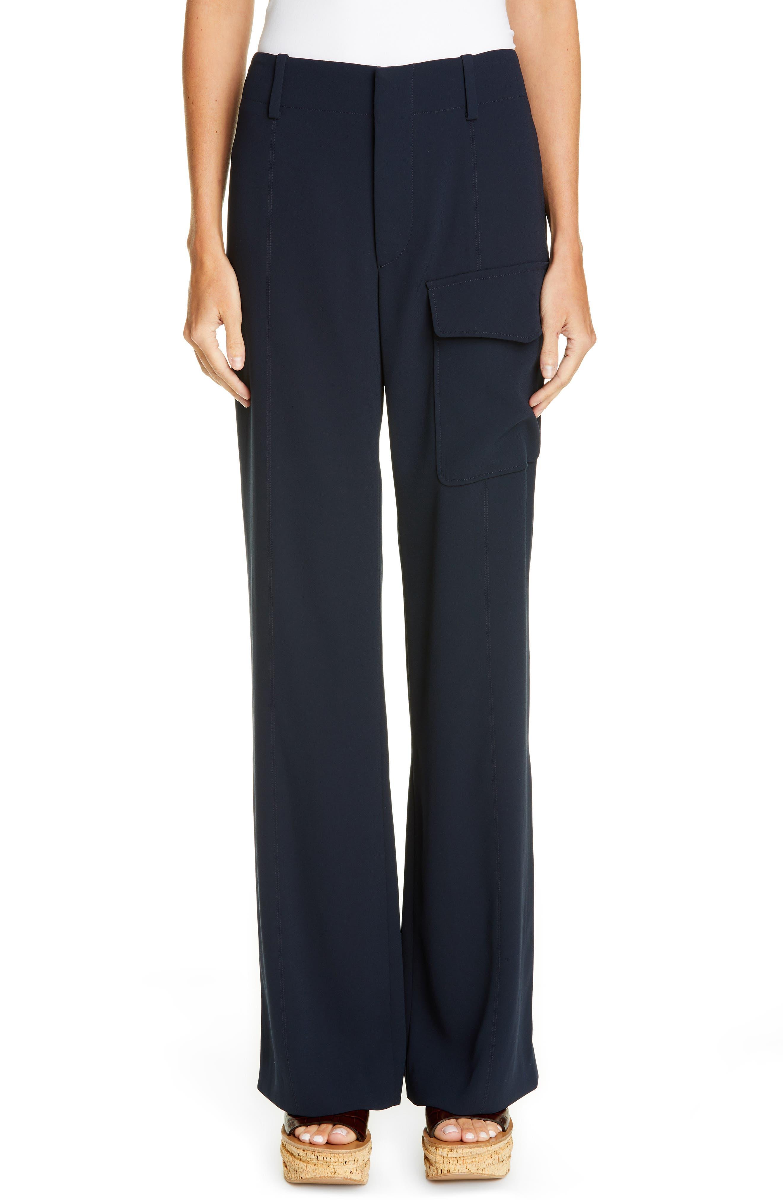 Chloe Wide Leg Cargo Pants, 4 FR - Blue