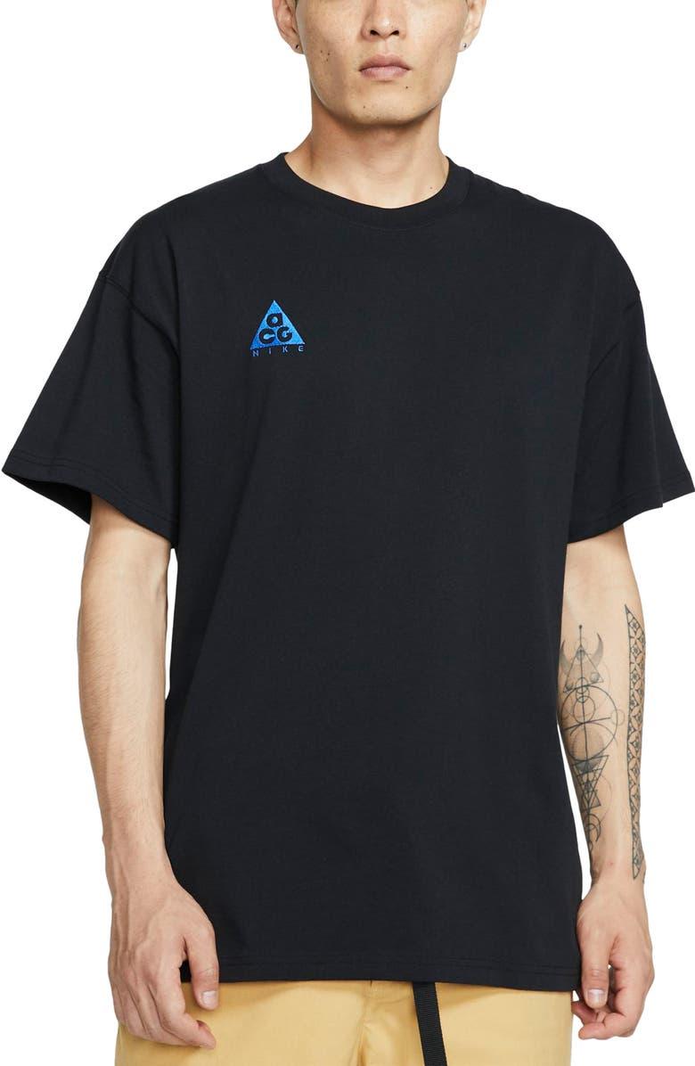 NIKE NRG All Conditions Gear Men's Logo T-Shirt, Main, color, BLACK/ GAME ROYAL