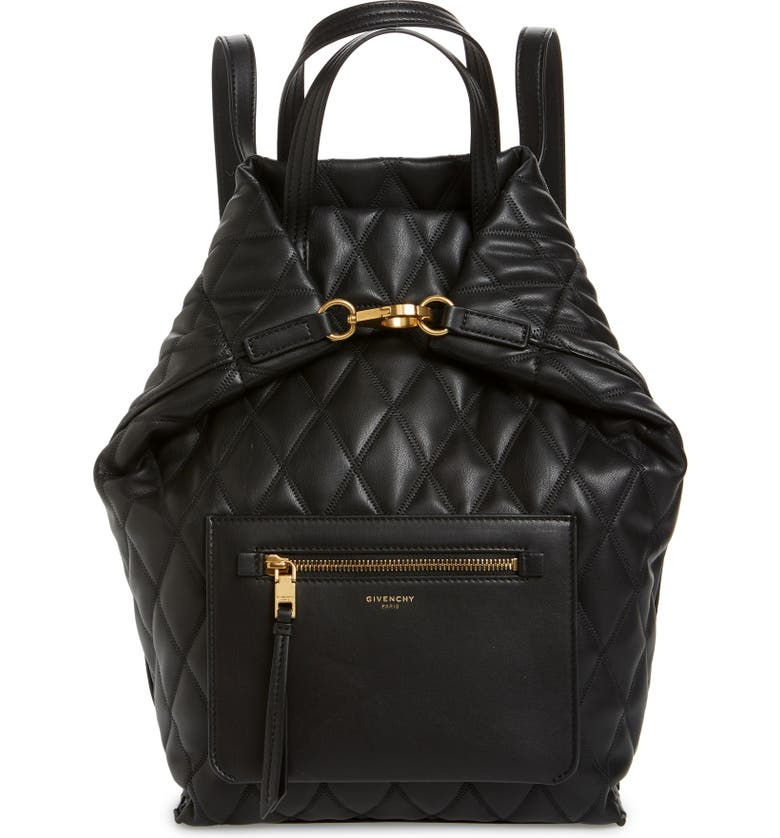 GIVENCHY Duo Quilted Faux Leather Backpack, Main, color, BLACK