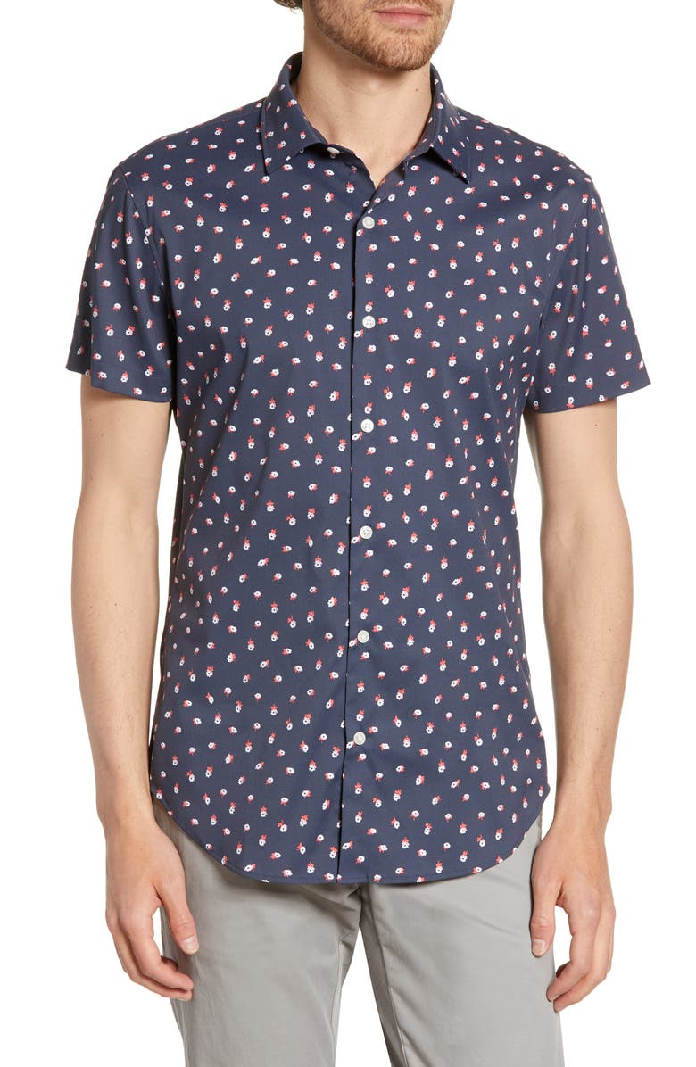 BONOBOS Slim Fit Floral Print Tech Sport Shirt, Main, color, FLOWER TOSS
