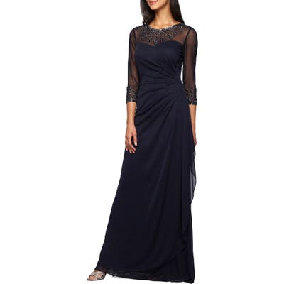 Petite Alex Evenings Embellished A-Line Gown, Blue