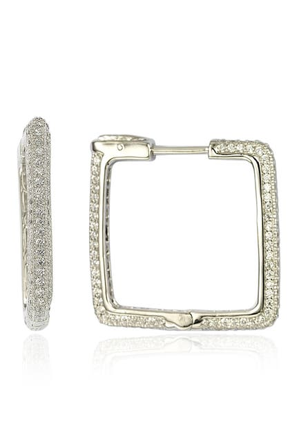 Image of Suzy Levian Sterling Silver Modern Pave CZ Square Hoop Earrings