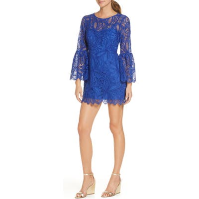 Lilly Pulitzer Denise Long Sleeve Lace Overlay Romper Dress, Blue