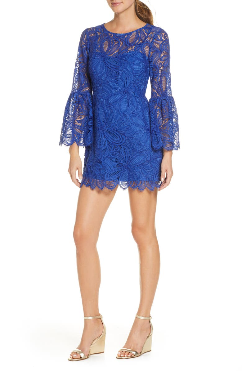 LILLY PULITZER<SUP>®</SUP> Denise Long Sleeve Lace Overlay Romper Dress, Main, color, 404
