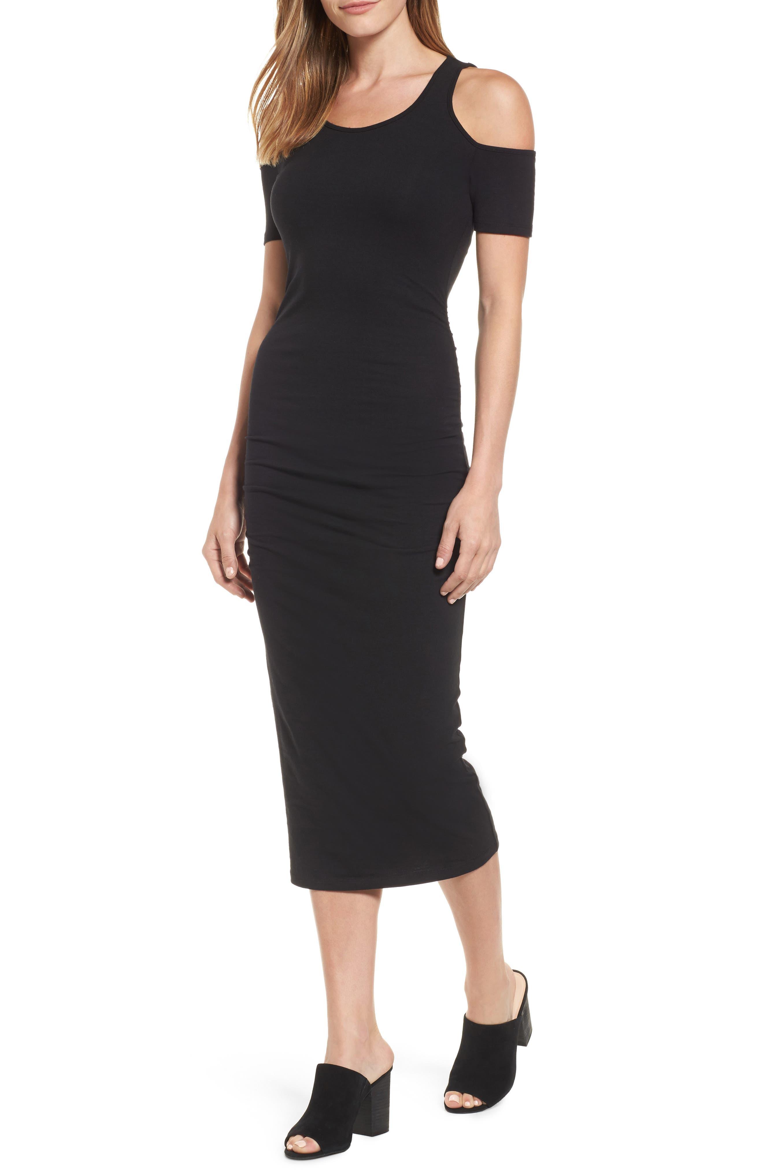 Petite Michael Stars Cold Shoulder Body-Con Dress, Black