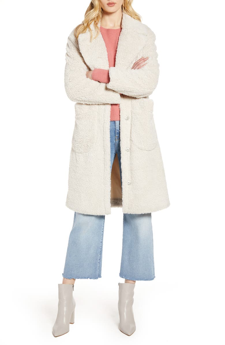 HALOGEN<SUP>®</SUP> Patch Pocket Teddy Coat, Main, color, IVORY
