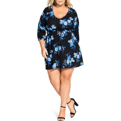 Plus Size City Chic Indigo Floral Tunic Dress, Blue