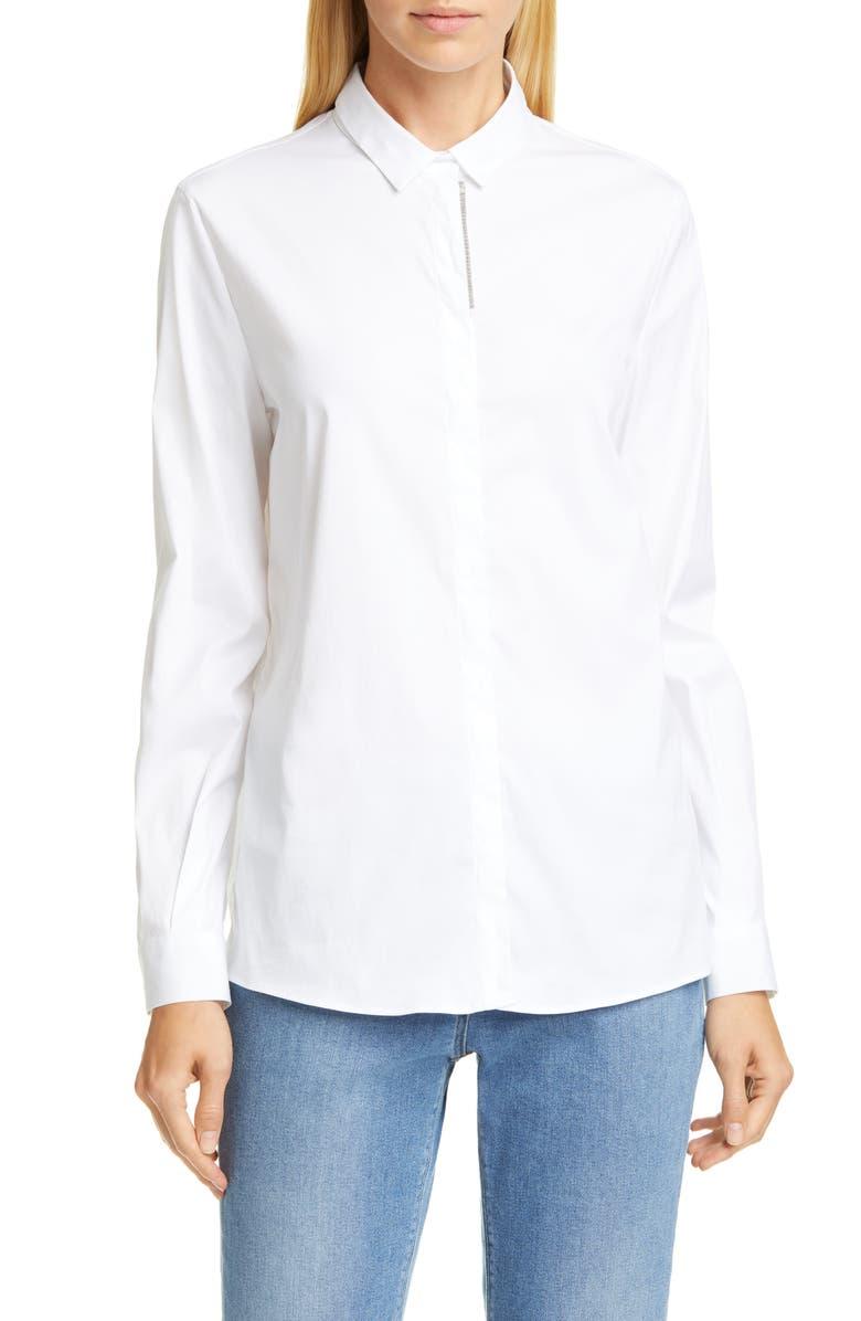 FABIANA FILIPPI Bead Trim Stretch Poplin Shirt, Main, color, 100